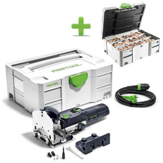 Festool DF 500 Q-Plus DOMINO Dübelmaró + Ajándék 498899 DOMINO dübel, bükkfa választék