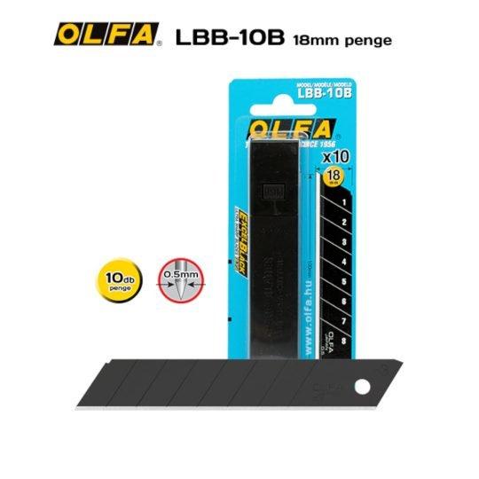 Olfa LBB-10B - 18mm-es Keskenyebb élszögű edzett tördelhető penge