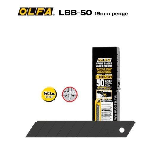 Olfa LBB-50 - 18mm-es Keskenyebb élszögű edzett tördelhető penge
