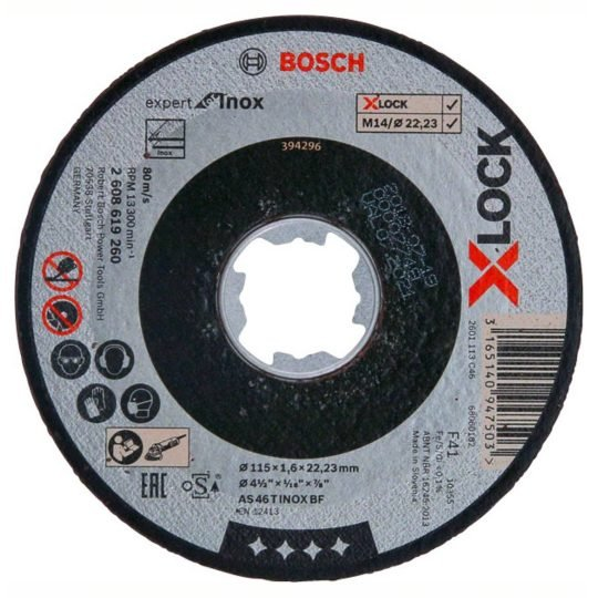 Bosch X-LOCK Expert for Inox Egyenes Vágótárcsa 115 x 1,6 mm