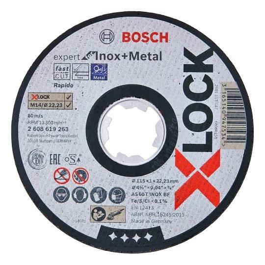 Bosch X-LOCK Inox + Metal Egyenes Vágótárcsa 115 x 1 mm