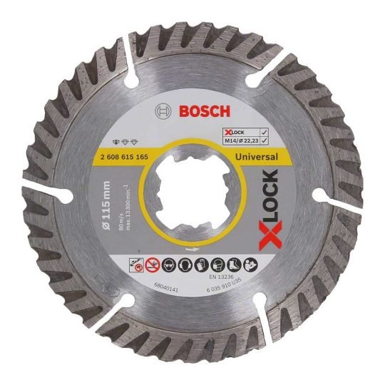 Bosch X-LOCK Standard for Universal gyémánt vágótárcsa 115x 22,23 x 2,0 x 10 mm