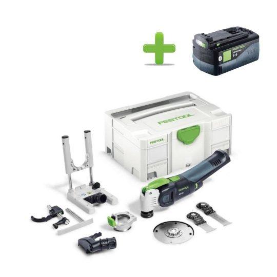 Festool Akkus oszcilláló kéziszerszám OSC 18 Li E-Basic Set VECTURO + Ajándék 202479 BP 18 Li 5,2 ASI Akkuegység