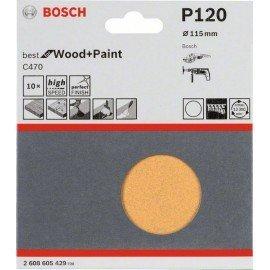 Bosch 10 részes C470 csiszolólapkészlet 115 mm, 120