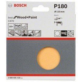 Bosch 10 részes C470 csiszolólapkészlet 115 mm, 180