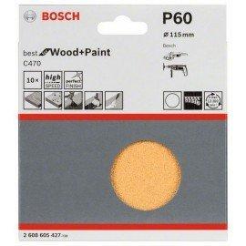 Bosch 10 részes C470 csiszolólapkészlet 115 mm, 60