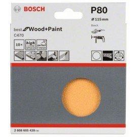 Bosch 10 részes C470 csiszolólapkészlet 115 mm, 80