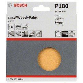 Bosch 10 részes C470 csiszolólapkészlet 125 mm, 180