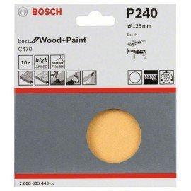 Bosch 10 részes C470 csiszolólapkészlet 125 mm, 240