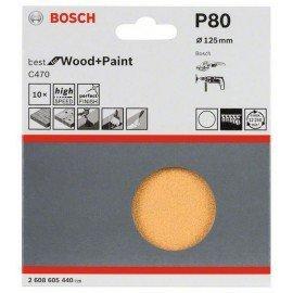 Bosch 10 részes C470 csiszolólapkészlet 125 mm, 80