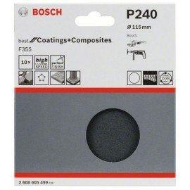 Bosch 10 részes F355 csiszolólap-készlet 115 mm, 220
