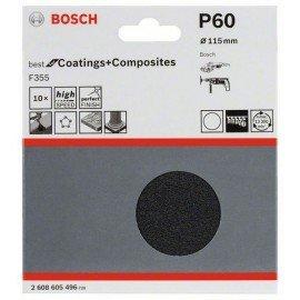 Bosch 10 részes F355 csiszolólap-készlet 115 mm, 60
