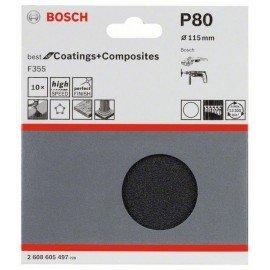 Bosch 10 részes F355 csiszolólap-készlet 115 mm, 80