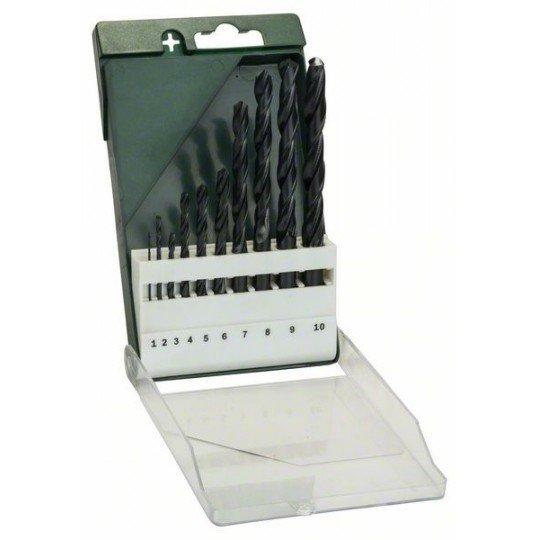 Bosch 10 részes fémfúrókészlet, HSS-R, DIN 338 1,0; 2,0; 3,0; 4,0; 5,0; 6,0; 7,0; 8,0; 9,0; 10,0 mm
