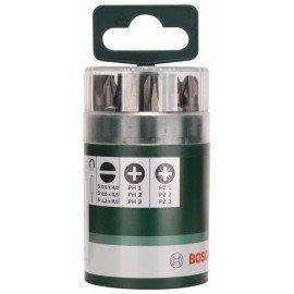 Bosch 10 részes Standard csavarozóbit-készlet, vegyes (S, PH, PZ) Univerzális tartó, mágneses; S0,5x4,0; S0,8x5,5; S1,2x8,0; PH1; PH2; PH3; PZ1; PZ2; PZ3; 25 mm