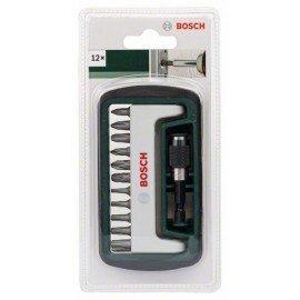 Bosch 12 részes Standard csavarozóbit-készlet, vegyes (PH, PZ, T) PH1, PH2, PH3, PZ1, PZ2, PZ3, T10, T15, T20, T25, T30, mágneses univerzális tartó