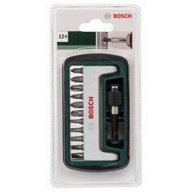 Bosch 12 részes Standard csavarozóbit-készlet, vegyes (S, PH, PZ, T) PH1, PH2, PH3, PZ1, PZ2, PZ3, T15, T20, T25, S0,6x4,5, S0,8x5,5, 1 univerzális tartó, mágneses