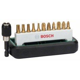 Bosch 12 részes Titanium csavarozóbit-készlet, vegyes (PH, PZ, T) PH1, PH2, PH3, PZ1, PZ2, PZ3, T10, T15, T20, T25, T30, mágneses univerzális tartó