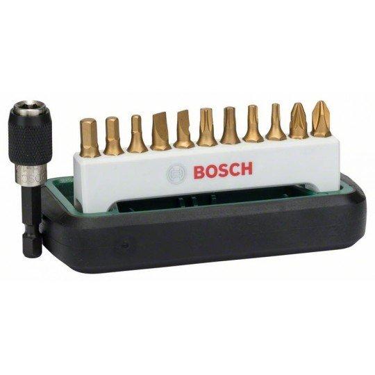 Bosch 12 részes Titanium csavarozóbit-készlet, vegyes (S, PH, PZ, T, HEX) PH2, PZ2, T10, T15, T20, T25, S0,6x4,5, S0,8x5,5, HEX3, HEX4, HEX5, univerzális tartó, mágneses