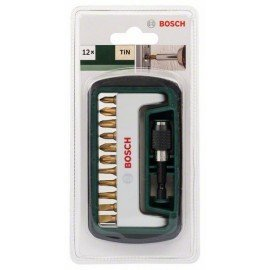 Bosch 12 részes Titanium csavarozóbit-készlet, vegyes (S, PH, PZ, T) PH1, PH2, PH3, PZ1, PZ2, PZ3, T15, T20, T25, S0,6x4,5, S0,8x5,5, univerzális tartó, mágneses