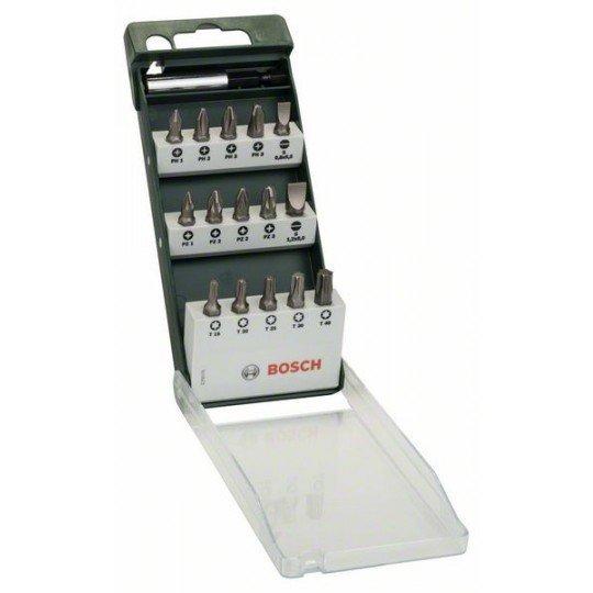 Bosch 16 részes Standard csavarozóbit-készlet, vegyes ((S, PH, PZ, T) UH 54; S0,8x5,5; S1,2x8,0; PH1; PH2 (2x); PH3; PZ1; PZ2 (2x); PZ3; T15; T20; T25; T30; T40; 25 mm