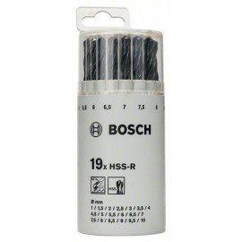 Bosch 19 részes, kerek, műanyag dobozos fémfúrókészlet, HSS-R, DIN 338 1-10 mm
