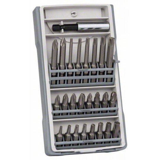 Bosch 25 részes csavarbit készlet PH1, PH2 (2 x 25 mm), PH3, PZ1, PZ2 (2 x 25 mm), PZ3, T10, T15, T20 (2 x 25 mm), T25, T27, T30, T40, T10, T15, T20, T25, T30, T40, PH2 (1 x 49 mm), PZ2 (1 x 49 mm), bittartó