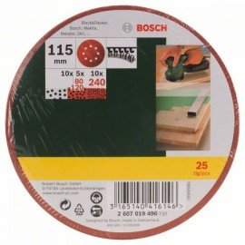 Bosch 25 részes csiszolólapkészlet excentercsiszolóhoz, 80-as, 120-as, 240-es szemcseméret
