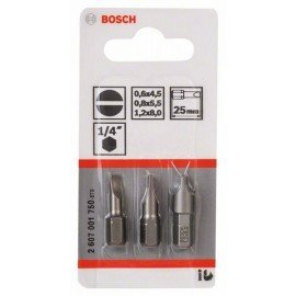 Bosch 3 részes csavarbit készlet, extra kemény (S) S 0,6x4,5; S 0,8x5,5; S 1,2x8,0