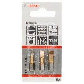 Bosch 3 részes csavarbit készlet Max Grip (S) S 0,6x4,5; S 0,8x5,5; S 1,2x8,0; 25 mm