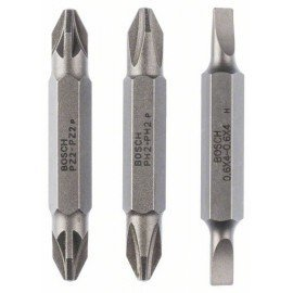 Bosch 3 részes kétvégű pengekészlet S 0,6x4,0, PH2, PZ2; S 0,6x4,0, PH2, PZ2; 45 mm