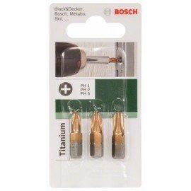 Bosch 3 részes Titanium csavarozóbit-készlet (PH) PH1; PH2; PH3; 25 mm