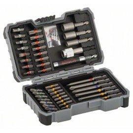 Bosch 43 részes bit- és dugókulcskészlet PH1; PH2 (2x); PH3; PZ1; PZ2 (2x); PZ3; SL3; SL4; SL5; SL6 (2x); H3; H4; H5; H6; T10; T15 (2x); T20 (2x); T25 (2x); T27; T30; T40; TH10; TH15; TH20; TH25; TH27; TH30; TH40