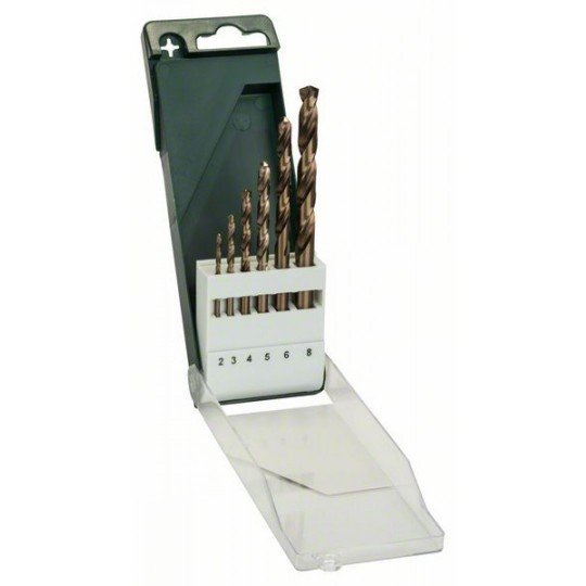 Bosch 6 részes fémfúrókészlet, HSS-Co, DIN 338 2,0; 3,0; 4,0; 5,0; 6,0; 8,0 mm