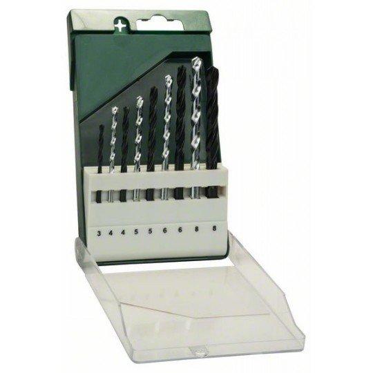 Bosch 9 részes fúrókészlet: fém HSS-R/kőzet 3,0 mm x 61 mm; 4,0 mm x 75 mm; 5,0 mm x 86 mm; 6,0 mm x 93 mm; 8,0 mm x 117 mm; 4,0 mm x 75 mm; 5,0 mm x 85 mm; 6,0 mm x 100 mm; 8,0 mm x 120 mm