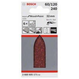 Bosch C430 csiszolólap, 6-os csomag 32 mm, 60; 120; 240