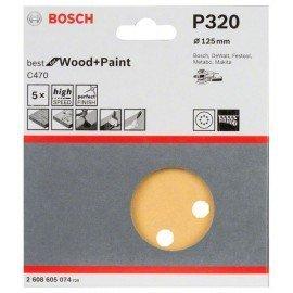 Bosch C470 csiszolólap, 5-ös csomag 125 mm, 320