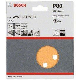 Bosch C470 csiszolólap, 5-ös csomag 125 mm, 80
