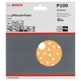 Bosch C470 csiszolólap, 5-ös csomag 150 mm, 100