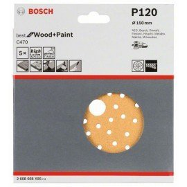 Bosch C470 csiszolólap, 5-ös csomag 150 mm, 120