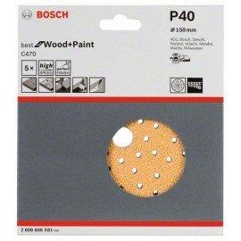 Bosch C470 csiszolólap, 5-ös csomag 150 mm, 40