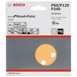 Bosch C470 csiszolólap, 6-os csomag 125 mm, 60; 120; 240