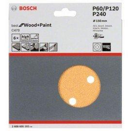 Bosch C470 csiszolólap, 6-os csomag 60; 120; 240