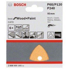 Bosch C470 csiszolólap, 6-os csomag 93 mm, 60; 120; 240