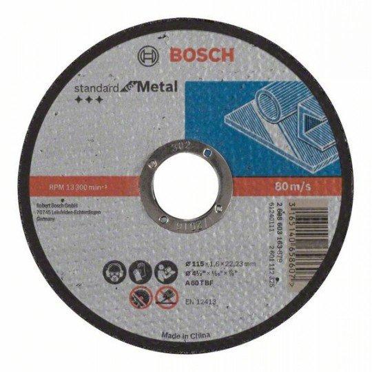 Bosch Darabolótárcsa, egyenes, Standard for Metal A 60 T BF, 115 mm, 22,23 mm, 1,6 mm