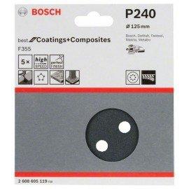 Bosch F355 csiszolólap, 5-ös csomag 125 mm, 240