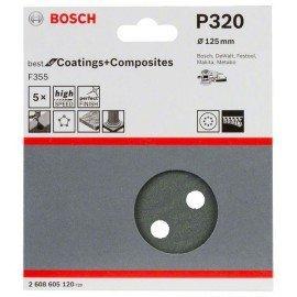 Bosch F355 csiszolólap, 5-ös csomag 125 mm, 320