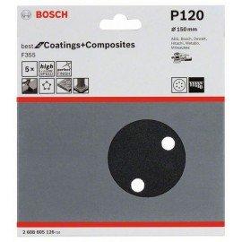 Bosch F355 csiszolólap, 5-ös csomag 150 mm, 120