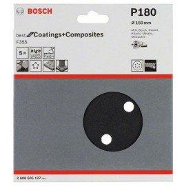 Bosch F355 csiszolólap, 5-ös csomag 150 mm, 180