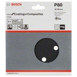 Bosch F355 csiszolólap, 5-ös csomag 150 mm, 80